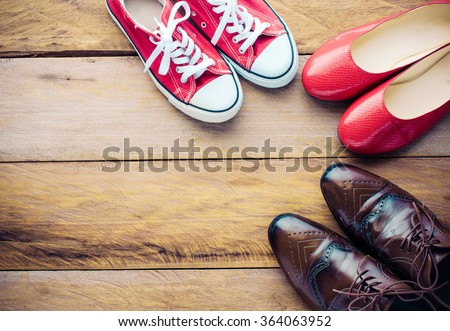 Placed on a wooden shoe styles - lifestyles - stock photo