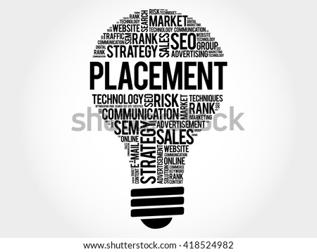 PLACEMENT bulb word cloud, business concept - stock photo