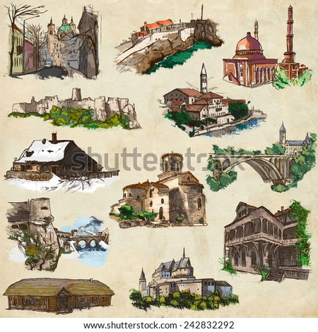 Places and ARCHITECTURE around the World - Collection of an hand drawn colored illustrations (pack no.17). Full sized hand drawn illustrations drawing on old paper. - stock photo