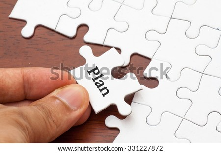 Placing missing a piece of puzzle with plan word