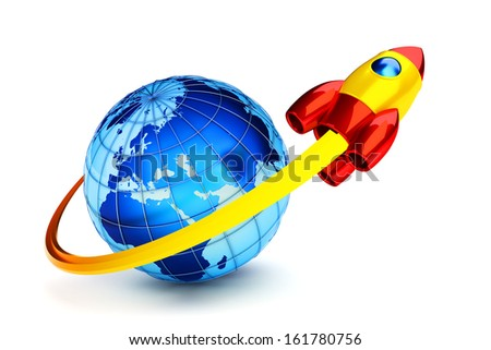 Placing the spaceship into a Earth orbit. Rocket science icon. Elements of this image furnished by NASA. - stock photo