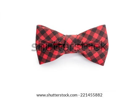 Plaid bow tie close up on white isolated on white background - stock photo