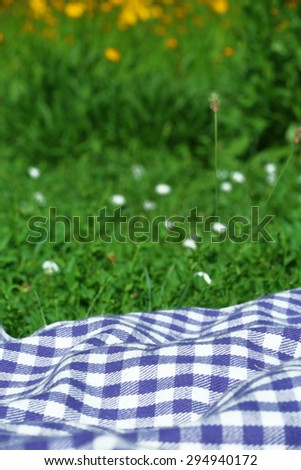 Plaid for picnic on green grass - stock photo