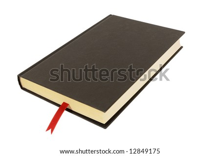 Plain black hardback book with red ribbon bookmark isolated against a white background.  Space for copy. - stock photo