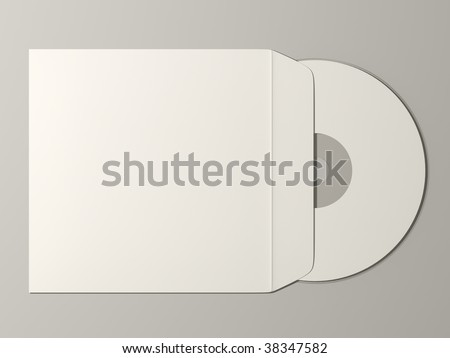 plain compact disc with cover render - stock photo