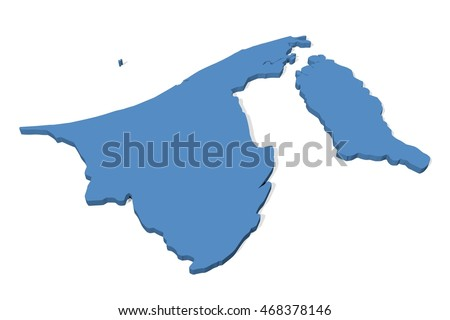 Plain 3D map of Brunei on a white background