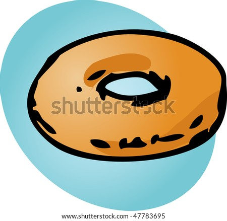 Plain donut, illustration of sweet baked dessert pastries