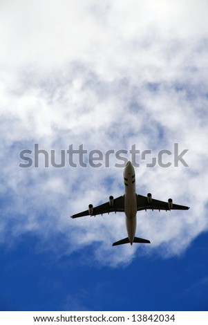Plain flying in the sky - stock photo