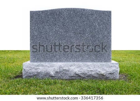 Plain Gray Granite Monument Stone on Green Grass