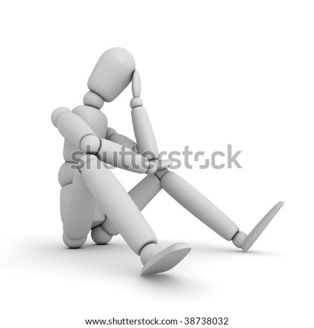 plain light grey lay figure sitting on a white ground thinking - template for texture - stock photo