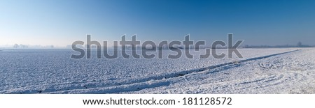 plain Mantua, Italy - December 8, 2012: Pictures of the agricultural area during the winter - stock photo