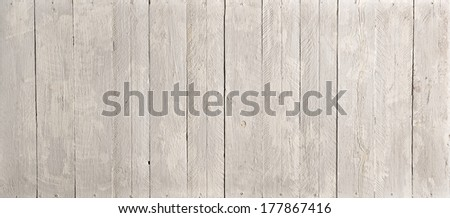 Plain natural wooden board background texture and pattern with upright parallel planks in a wide angle view - stock photo