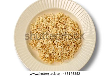 plain noodles on plate - stock photo