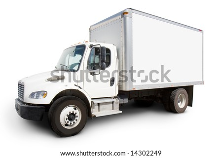 Plain white delivery truck with sides ready for custom text and logos - stock photo