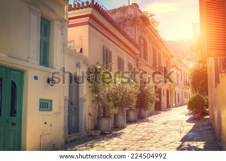 "Plaka,an old historical neighbourhood of Athens, clustered around the northern and eastern slopes of the Acropolis,known as the ""Neighbourhood of the Gods"""