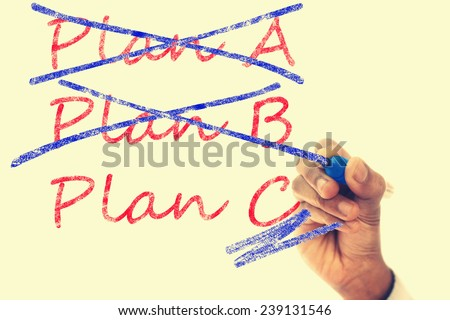 Plan A and B crossed, Plan C take over - stock photo
