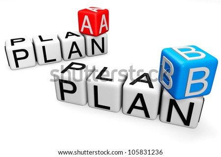 Plan A and B Crossword Block text on a white background - stock photo