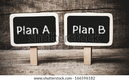 Plan A or Plan B, written on a blackboard. The concept of choice.  - stock photo