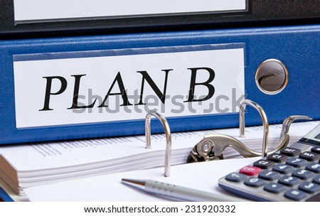 Plan B - blue binder in the office - stock photo