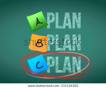 plan c selection illustration design over a chalkboard background - stock photo