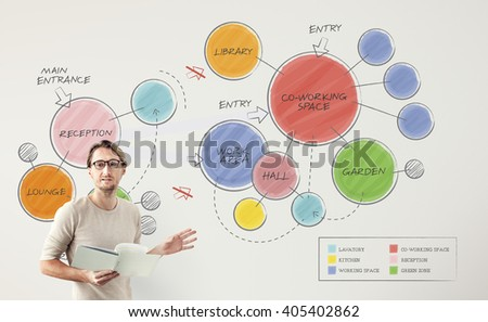 Plan Co-working Space Mind Mapping Concept - stock photo