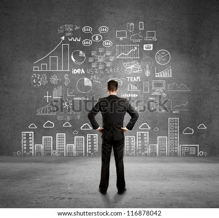plan concept on wall - stock photo