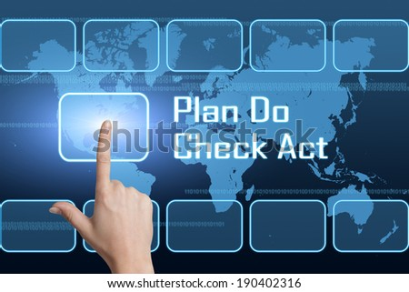 Plan Do Check Act concept with interface and world map on blue background - stock photo