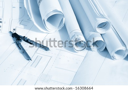 Plan drawing in blue tone - stock photo