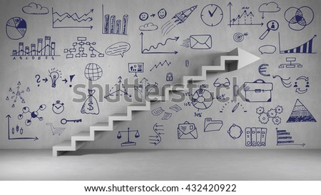 Plan for success and growth with staircase and arrow on a wall (3D Rendering) - stock photo