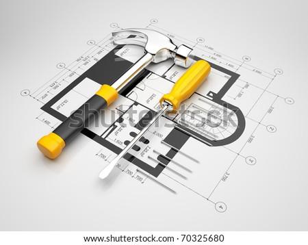 Plan of construction. 3D illustration - stock photo