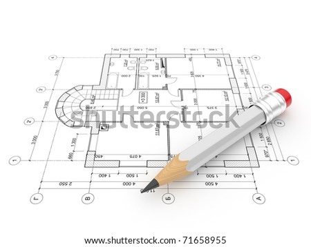 Plan of construction. Isolated on white background - stock photo