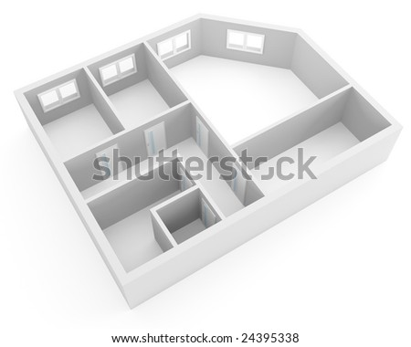 plan of modern apartment with empty rooms with windows and doors - stock photo