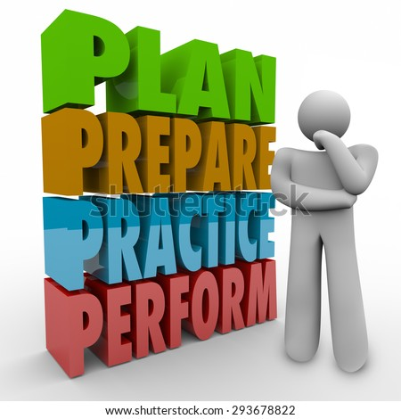Plan, Prepare, Practice and Perform words and thinking person focusing on a strategy, goal, mission or idea for achieving success