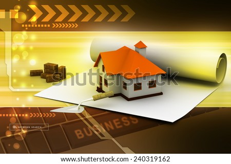 Plan With House - stock photo