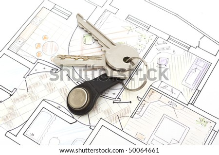 plan with keys concept, copy space for the text - stock photo