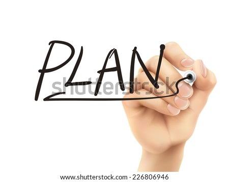 plan word written by 3d hand over white background