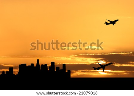 plane departing Los Angeles at sunset illustration - stock photo