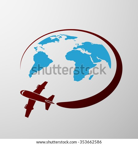 Plane flies around the Earth. Flat graphics. Stock image. - stock photo