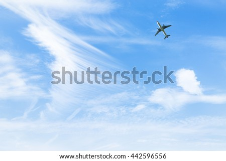plane flying in the blue sky
