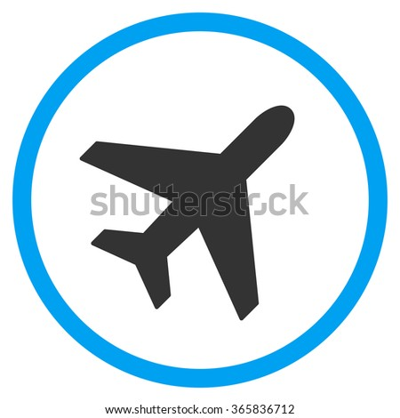 Plane glyph icon. Style is bicolor flat circled symbol, blue and gray colors, rounded angles, white background.