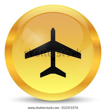 Plane icon. Internet button on white background. - stock photo