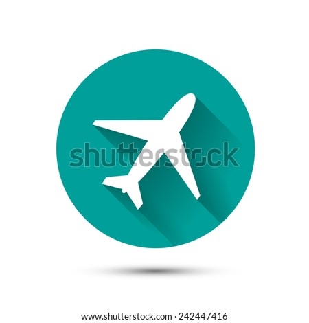 Plane icon on green background with long shadow - stock photo