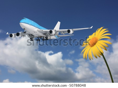 Plane in the sky - stock photo