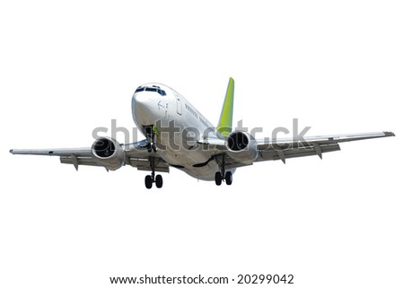 Plane isolated on a clean white background. - stock photo