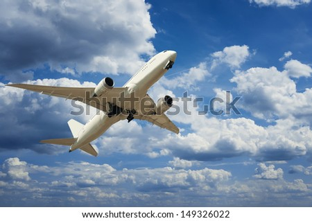 plane on a background of the sky with clouds