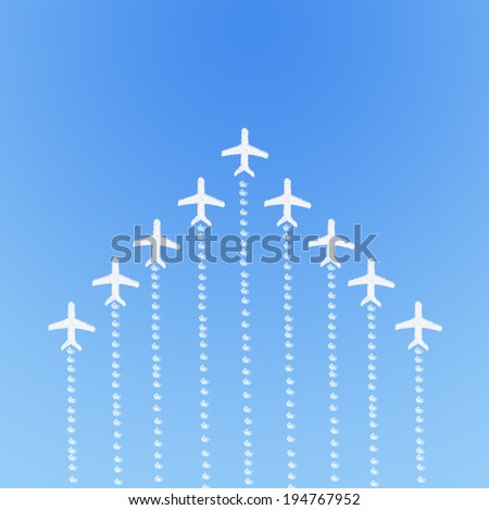 Plane on Cloud shaped ,dream concept