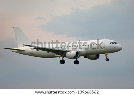 Plane on final approach - stock photo