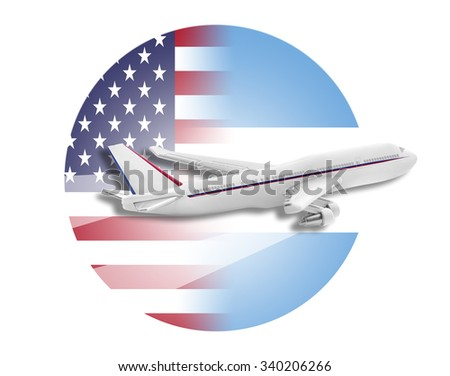 Plane on the background flags of the United States and Argentina. - stock photo