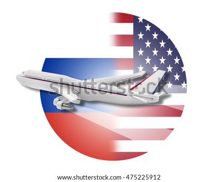 Plane on the background flags of the United States and Russia.