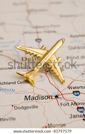 Plane Over Wisconsin, Map is Copyright Free Off a Government Website - Nationalatlas.gov - stock photo